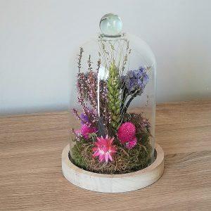 cloche en verre fleurie